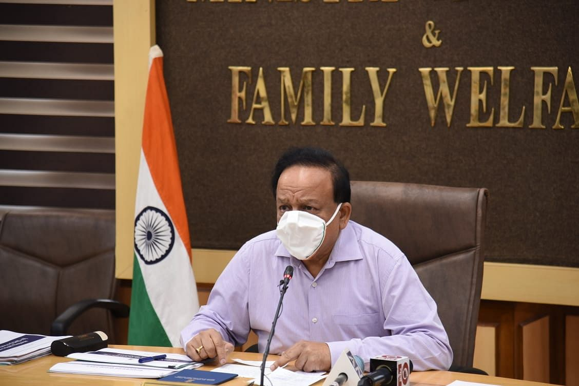 Union Minister of Health & Family Welfare Harsh Vardhan chairing the 20th meeting of the Group of Ministers on COVID-19 in New Delhi on August 29, 2020.