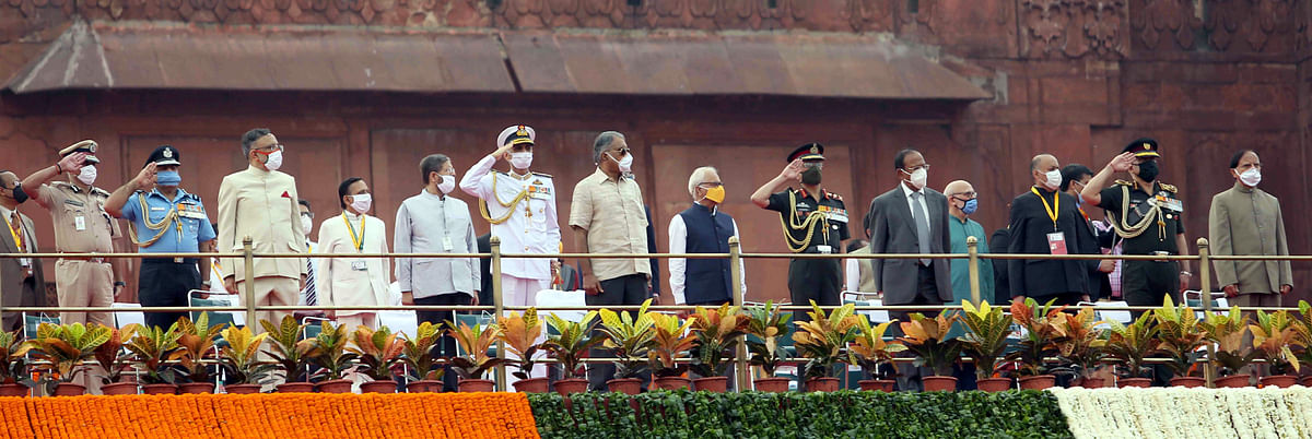 Some of the dignitaries who attended the Independence Day ceremony at Red Fort, in New Delhi on August 15, 2020.