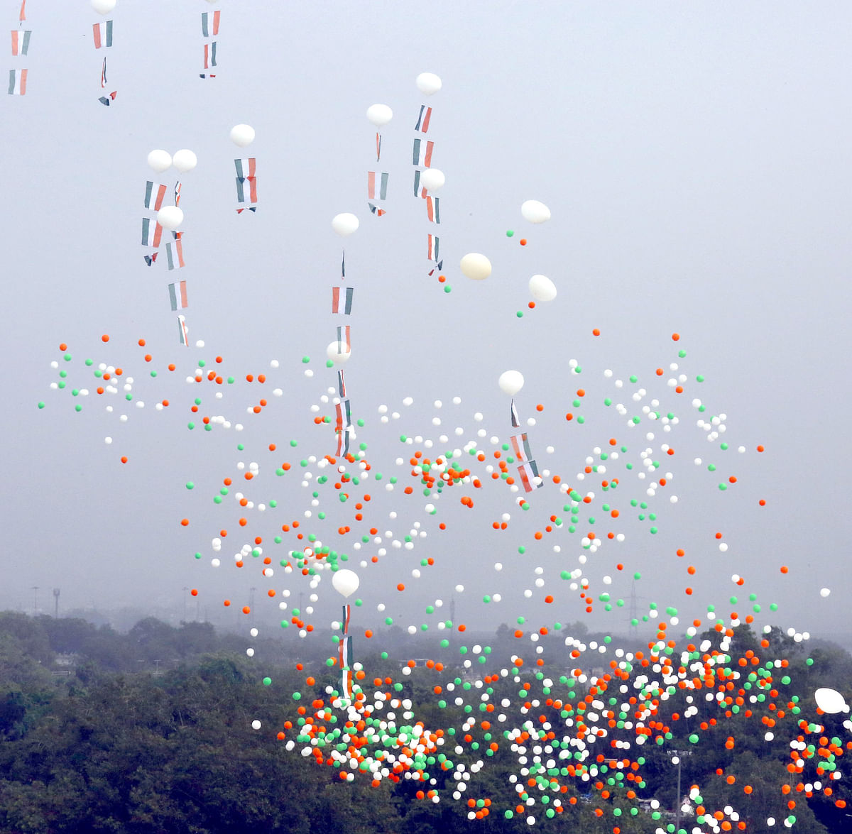 Colourful balloons released at the end of the Independence Day Ceremony at the Red Fort in New Delhi on August 15, 2020.