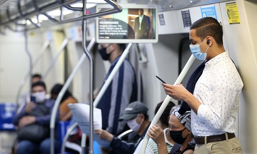 Passengers wearing face masks are seen in a subway in Sao Paulo, Brazil on August 12, 2020.