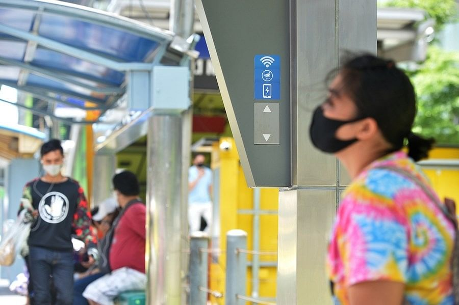 Passengers waiting at a smart bus stop in Bangkok, Thailand on July 31, 2020.