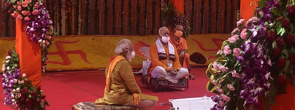 Prime Minister Narendra Modi and RSS chief Mohan Bhagwat during the 'bhumi pujan' ceremony of Ram Temple in Ayodhya on August 5, 2020.
