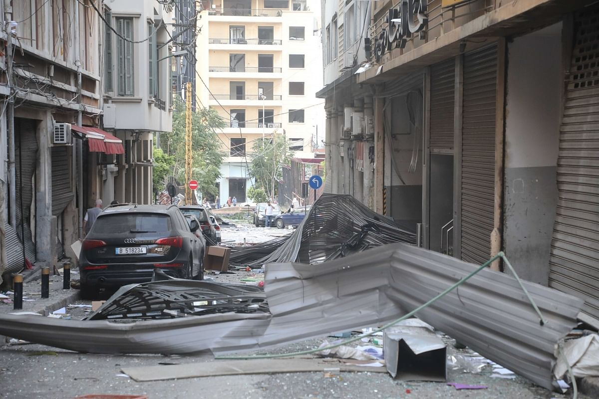 Another view of a street in Beirut, Lebanon after two huge explosions rocked the city on August 4, 2020.