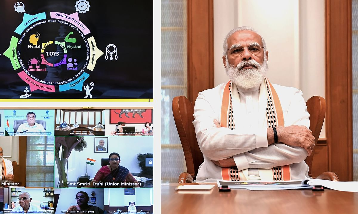 Prime Minister Narendra Modi presiding over a meeting to discuss ways to boost toy manufacturing in India, in New Delhi on August 22, 2020.