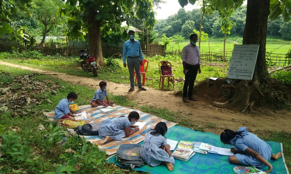 Neighbourhood classes being held in open spaces in Tripura to prevent the spread of COVID-19.