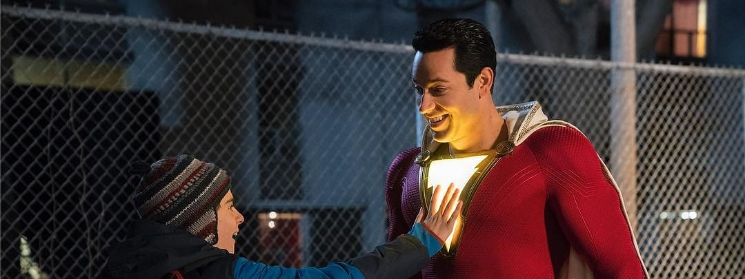 Zachary Levi in a still from Shazam!