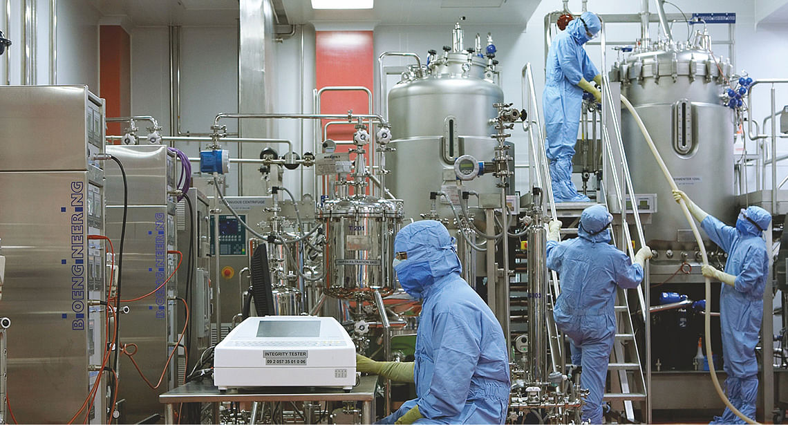 A view of the production facilities at the Serum Institute of India, Pune