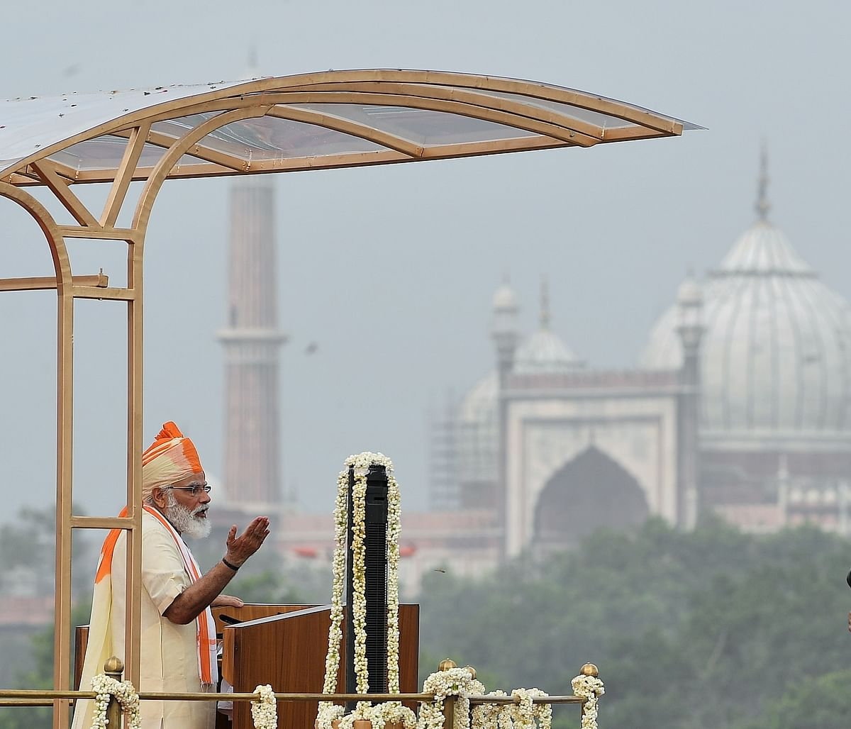 Prime Minister Narendra Modi addressing the nation from the ramparts of the Red Fort, in New Delhi on August 15, 2020.