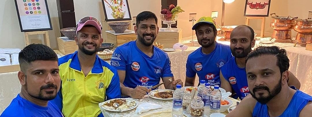Suresh Raina (second  from left), who announced his retirement from international cricket, on August 15, 2020. He is seen here with his CSK teammates MS Dhoni, Kedar Jadhav and Karn Sharma.