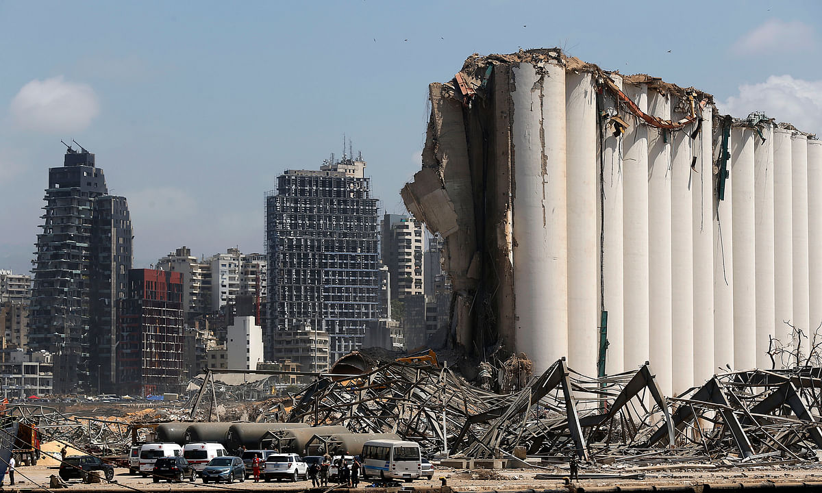 Damaged buildings at the Port of Beirut in Lebanon, on August 8, 2020, four days after two huge explosions hit the port on August 4.