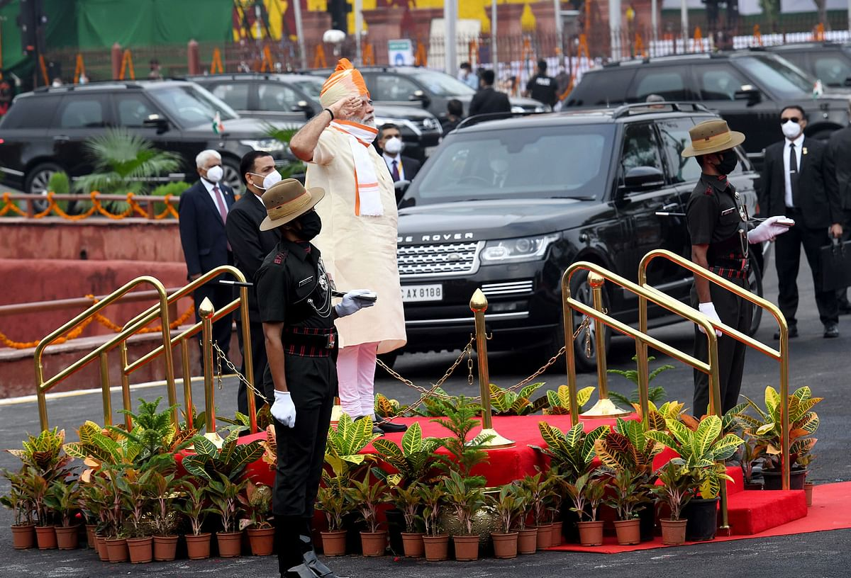 Prime Minister Narendra Modi being accorded a guard of honour at the Red Fort in New Delhi on August 15, 2020.