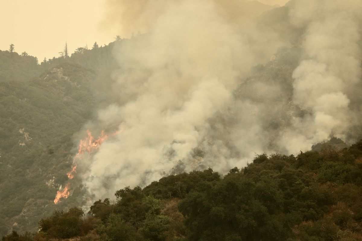A wildfire is seen in Angeles National Forest, Monrovia, Los Angeles in the United States, on September 10, 2020.