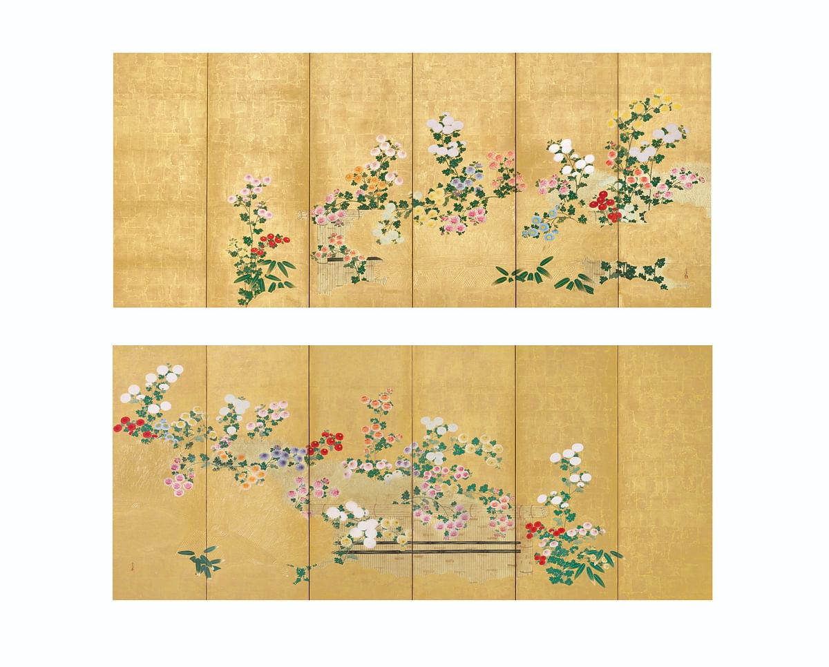 Kano Tsunenobu (1636-1713) - Chrysanthemums blooming in a garden: Pair of six-panel screens; 66 ½ X 150 in.