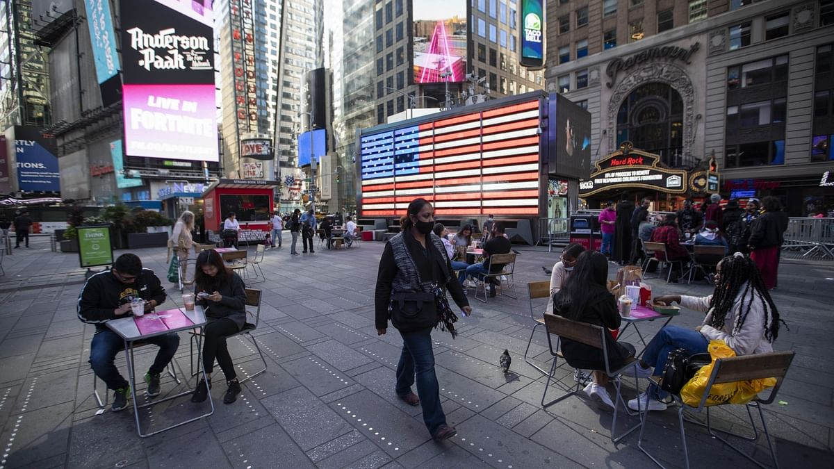 People walking at Times Square in New York, the United States, September 20, 2020.