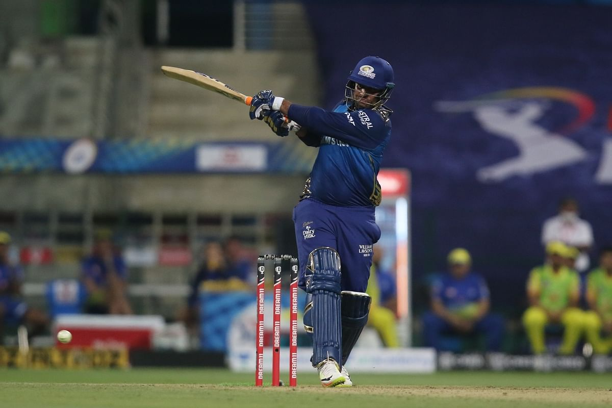 Saurabh Tiwary of Mumbai Indians in action during the opening match of the 13th Indian Premier League against Chennai Super Kings in Abu Dhabi on September 19, 2020.