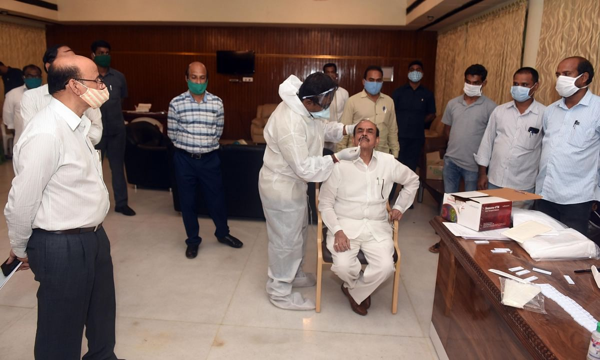 Telangana Home Minister Mohammed Mahmood Ali giving swab samples for COVID-19 testing ahead of the monsoon session of the State Legislative Assembly scheduled to commence from September 7, in Hyderabad on September 4, 2020.