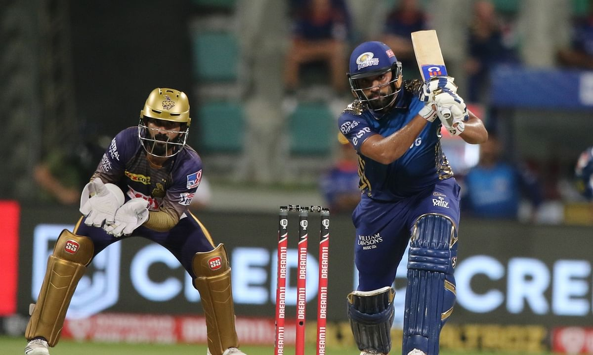 Mumbai Indians skipper Rohit Sharma in action against Kolkata Knight Riders in their match in the Indian Premier League at Abu Dhabi on September 23, 2020.