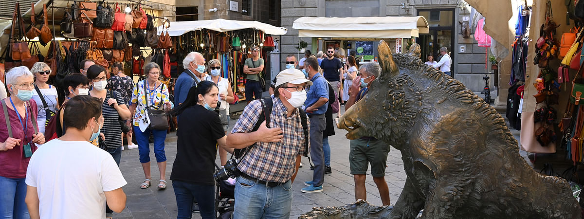 Tourists visiting Florence, Italy, on September 4, 2020. The coronavirus infection rate in Italy is on the rise. The country saw more than 1,000 infections a day on nine of the past 13 days through Thursday, a figure that had previously not been surpassed since May 12.