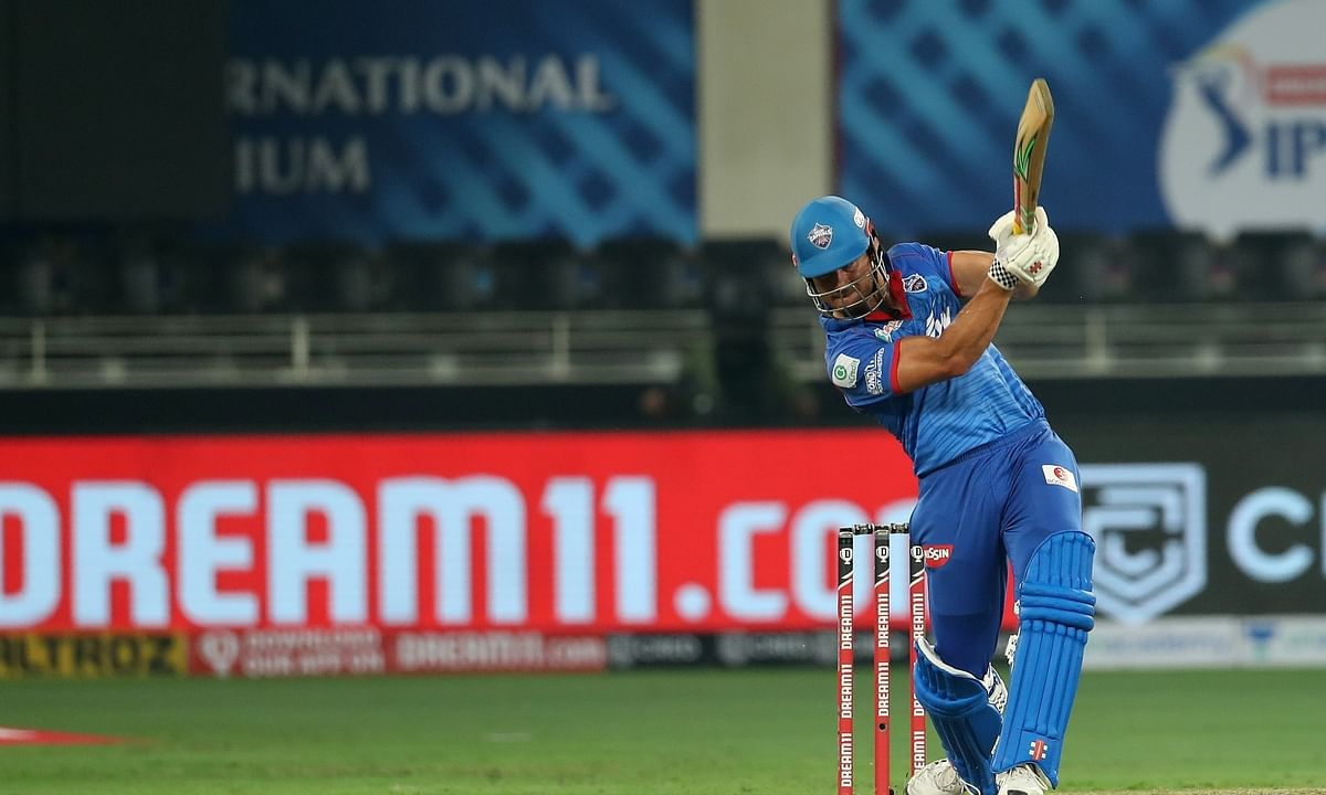Marcus Stoinis of Delhi Capitals in action against Kings XI Punjab in the second match of the 13th Indian Premier League at the Dubai International Stadium in Dubai, on September 20, 2020.