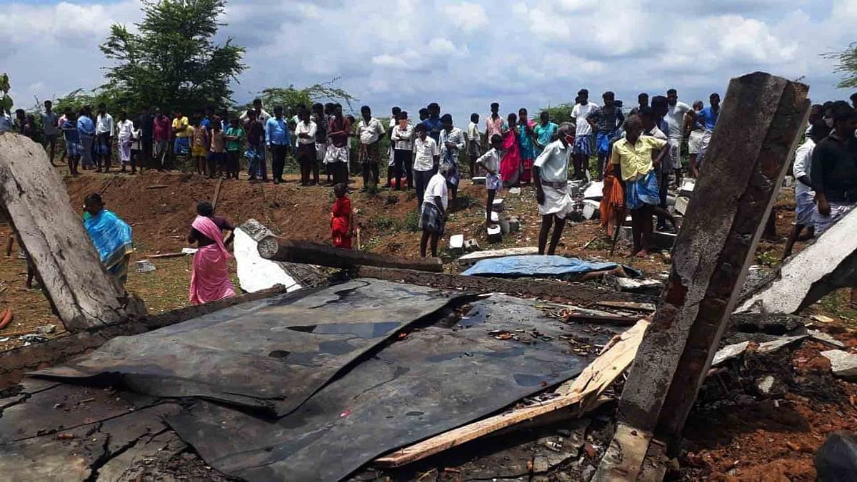 Locals gathered near the site of a firecracker factory blast in Cuddalore district in Tamil Nadu on September 4, 2020. Seven women died and several others were injured in the blast.
