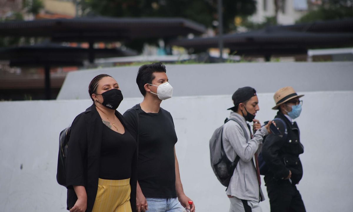 People seen wearing masks in Mexico City, Mexico, on September 9, 2020.