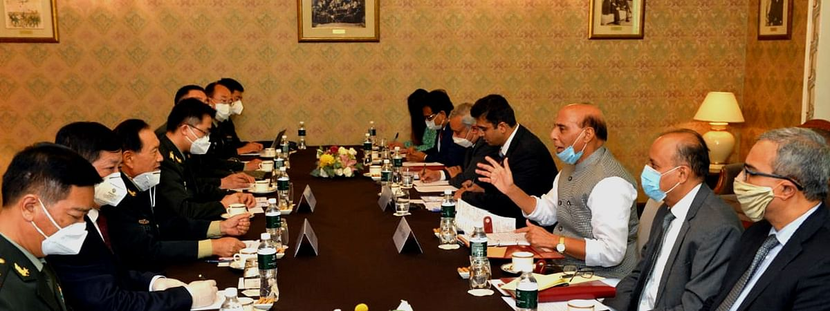 Defence Minister Rajnath Singh in a meeting with his Chinese counterpart General Wei Fenghe on the sidelines of the meeting of the Defence Ministers of the Shanghai Cooperation Organisation (SCO), the Commonwealth of Independent States (CIS) and the Collective Security Treaty Organisation (CSTO) members countries, in Moscow on September 4, 2020.
