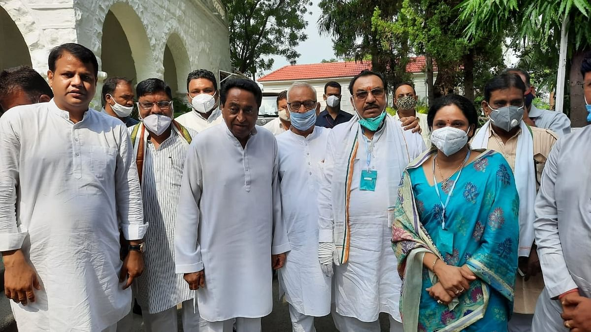 Former BJP MLA Parul Sahu after joining the Congress in the presence of former Chief Minister Kamal Nath, in Bhopal on September 18, 2020.