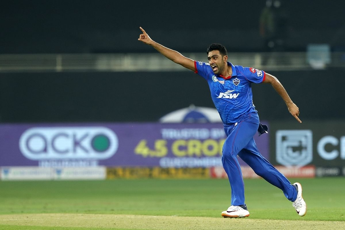 Ravichandran Ashwin of Delhi Capitals celebrates a wicket against Kings XI Punjab in the second match of the Indian Premier League, in Dubai on September 20, 2020.