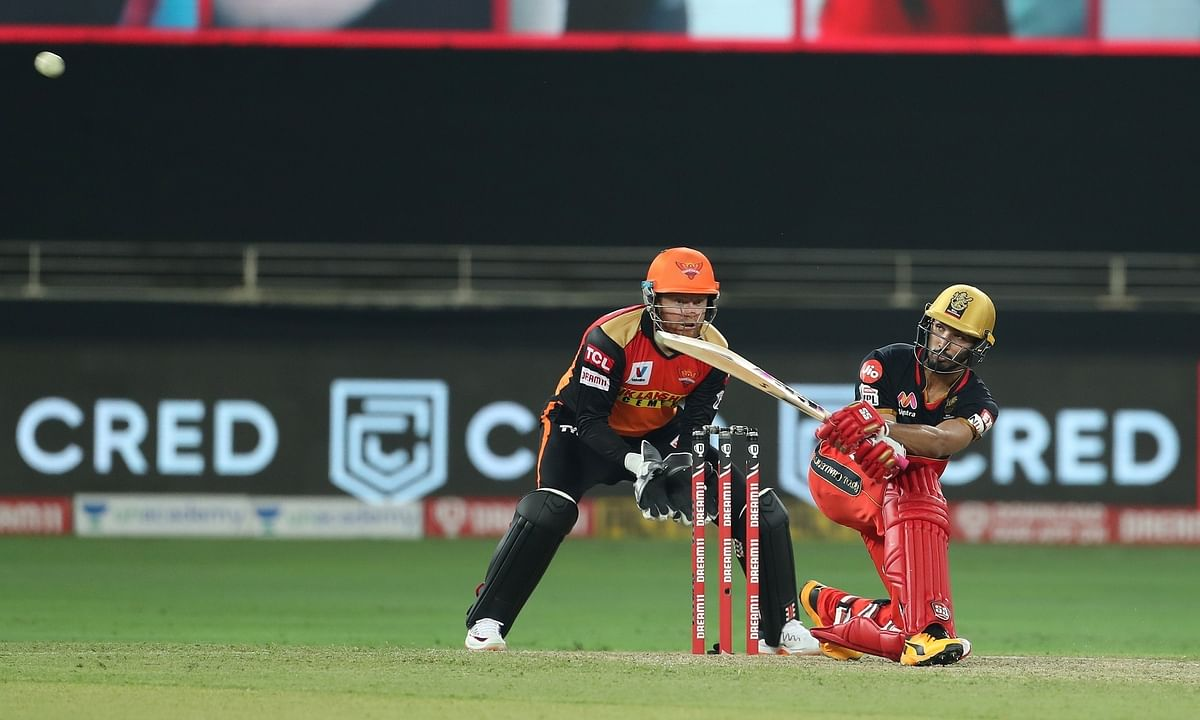 Devdutt Padikkal of Royal Challengers Bangalore bringing up his fifty against Sunrisers Hyderabad in the third match of the Indian Premier League (IPL) in Dubai, on September 21, 2020