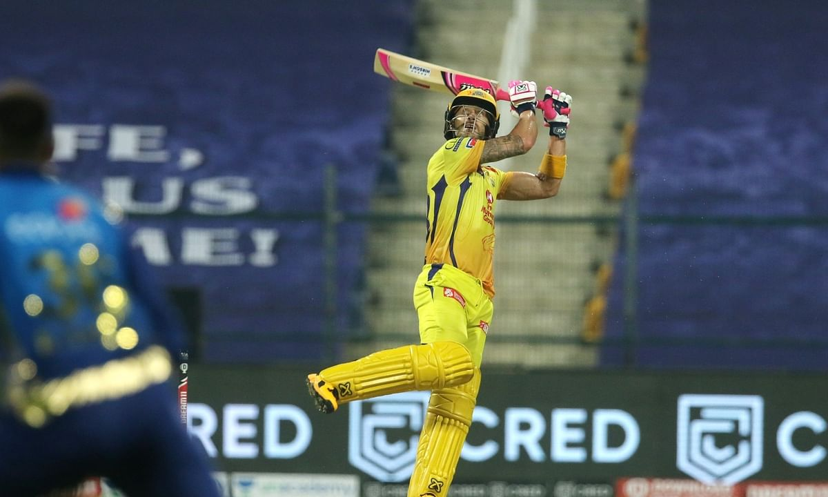 Faf du Plessis of Chennai Super Kings plays a shot against Mumbai Indians in the opening match of the 13th  Indian Premier League in Abu Dhabi on September 19, 2020.