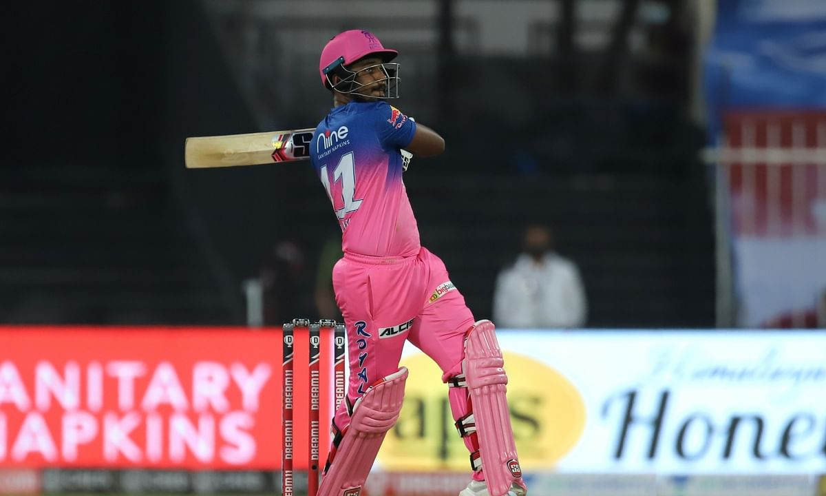 Sanju Samson of Rajasthan Royals in action against Chennai Super Kings in the Indian Premier League at Sharjah on September 22, 2020.