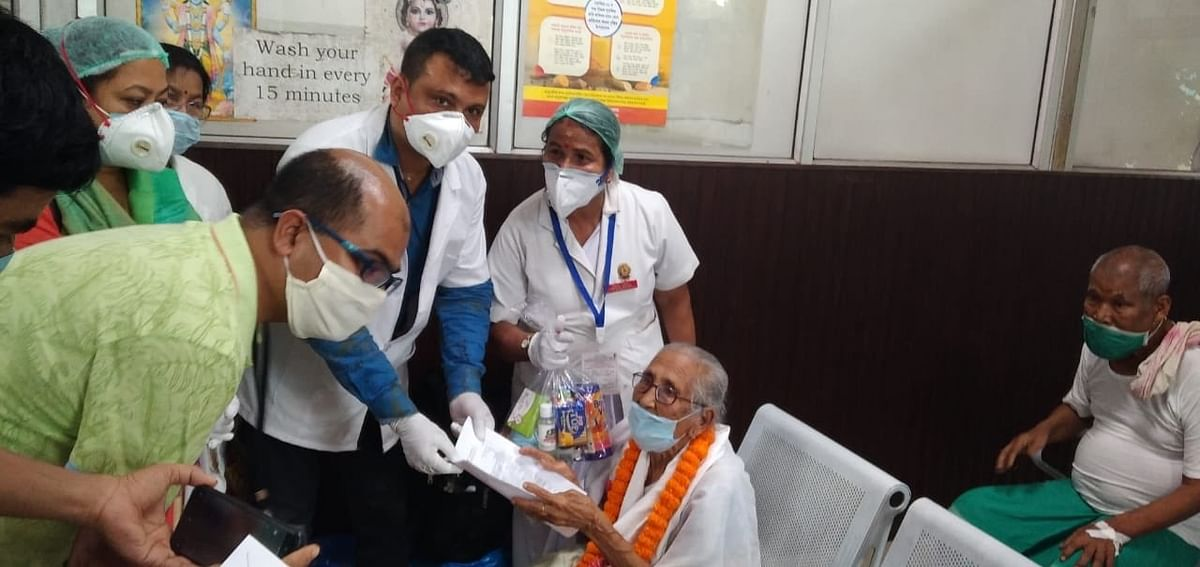 Mai Handique, a 100-year-old woman being discharged from a hospital in Guwahati after recovering from COVID-19 on September 16, 2020.