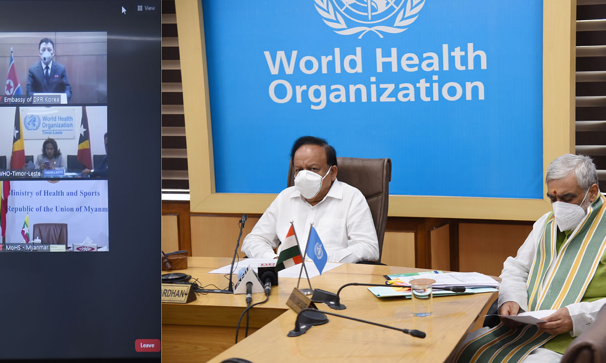 Union Minister for Health & Family Welfare Harsh Vardhan participating in the 73rd session of WHO South East Asia Region through video conferencing, in New Delhi on September 9, 2020.