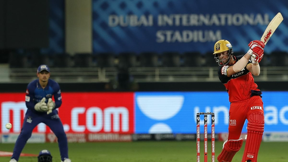 AB de Villiers of Royal Challengers Bangalore in action against Mumbai Indians in their match in the Indian Premier League in Dubai, on September 28, 2020.