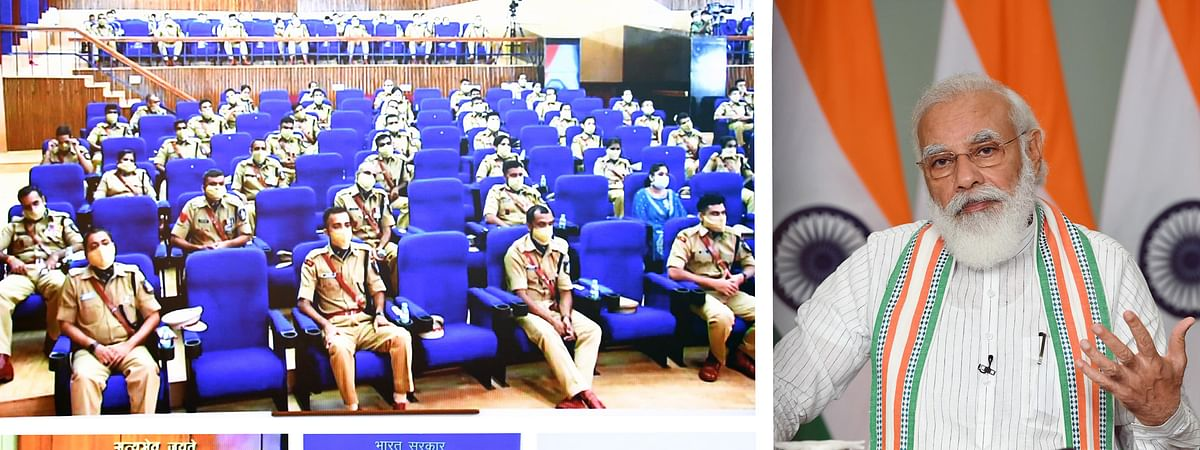 Prime Minister Narendra Modi interacting with IPS Probationers during the Passing Out Parade at Sardar Vallabhbhai Patel National Police Academy, Hyderabad, through video conferencing, in New Delhi on September 4, 2020