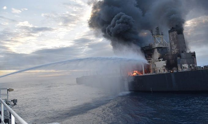 Indian Coast Guard ship Shaurya engaged in fire-fighting operations to douse the blaze on VLCC New Diamond, off the Sri Lankan coast, on September 3, 2020.