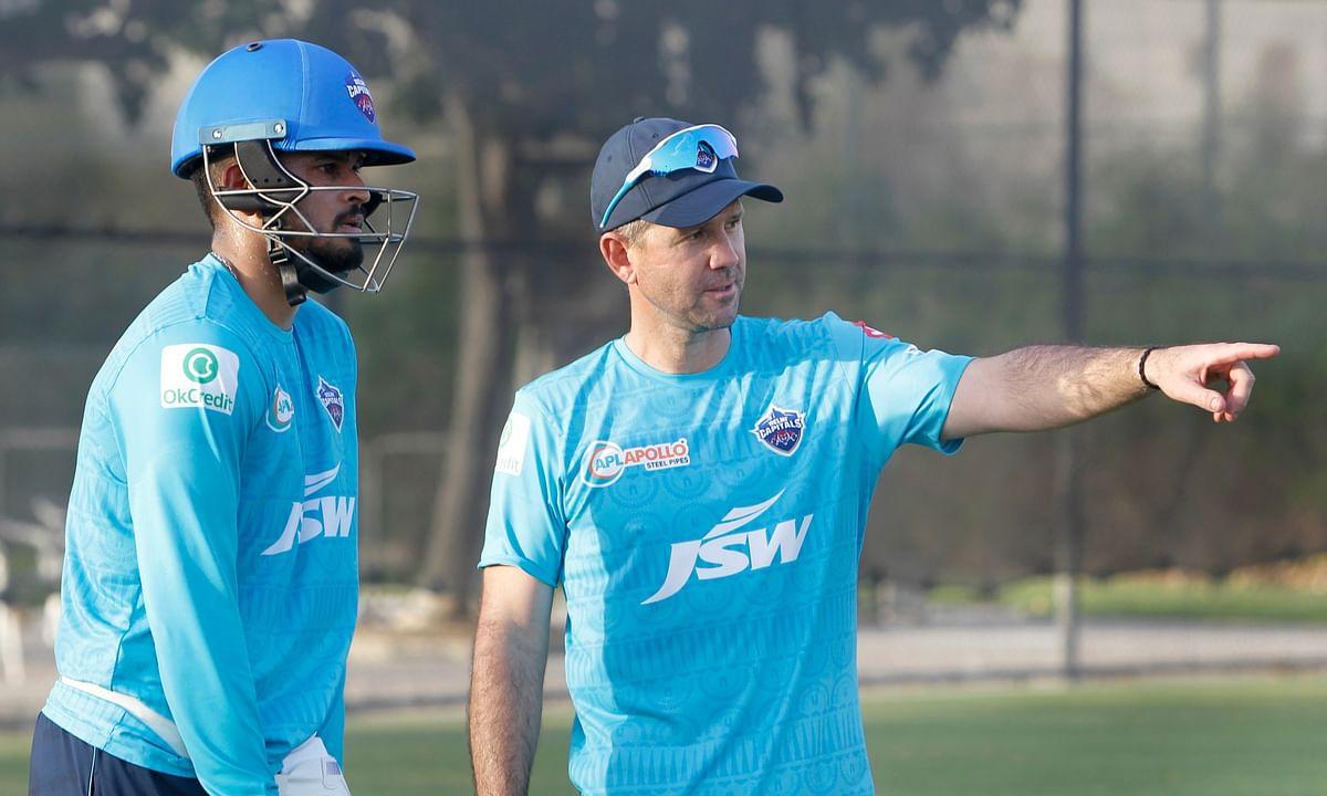 Delhi Capitals head coach Ricky Ponting with captain Shreyas Iyer, in Dubai on September 19, 2020.