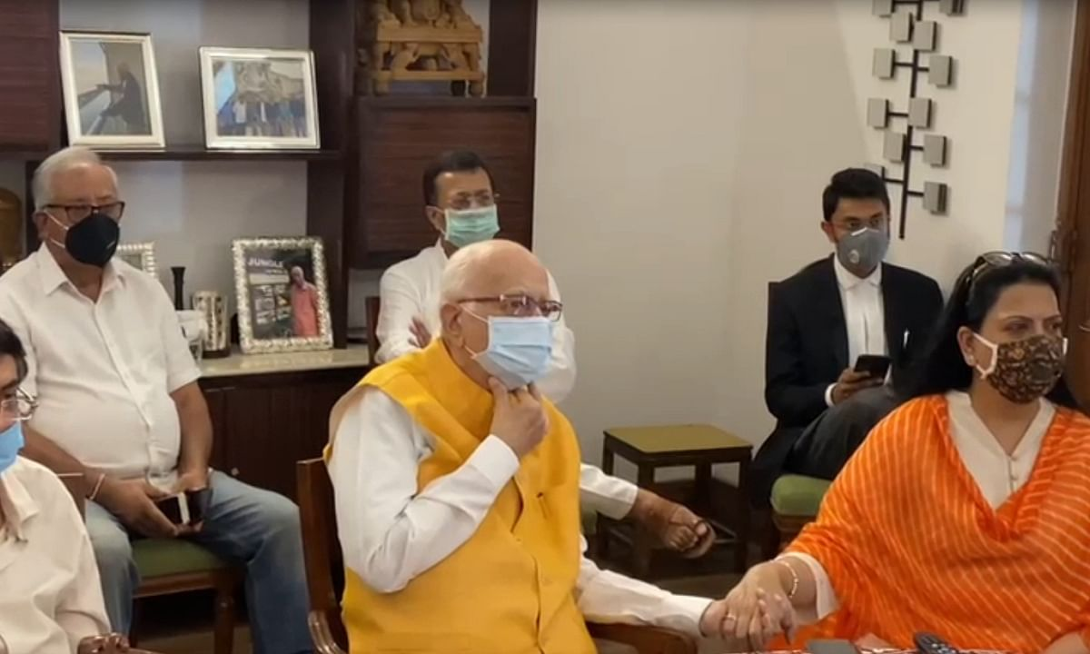 Former Deputy Prime Minister Lal Krishna Advani at his residence in New Delhi, following the proceedings in the Special CBI court in Lucknow in the Babri mosque demolition case on television, on September 30, 2020.