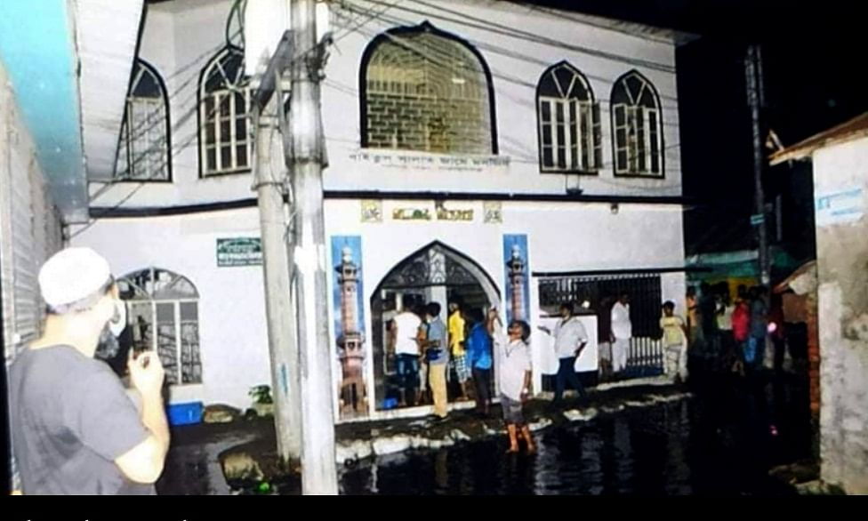 The mosque in Fatullah, Bangladesh where 17 people were killed after six air-conditioners exploded, on September 4, 2020.