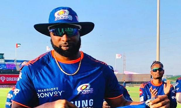 Kieron Pollard of Mumbai Indians posing for a picture on playing in his 150th game for the team in the Indian Premier League, against Kolkata Knight Riders in Abu Dhabi on September 23, 2020.