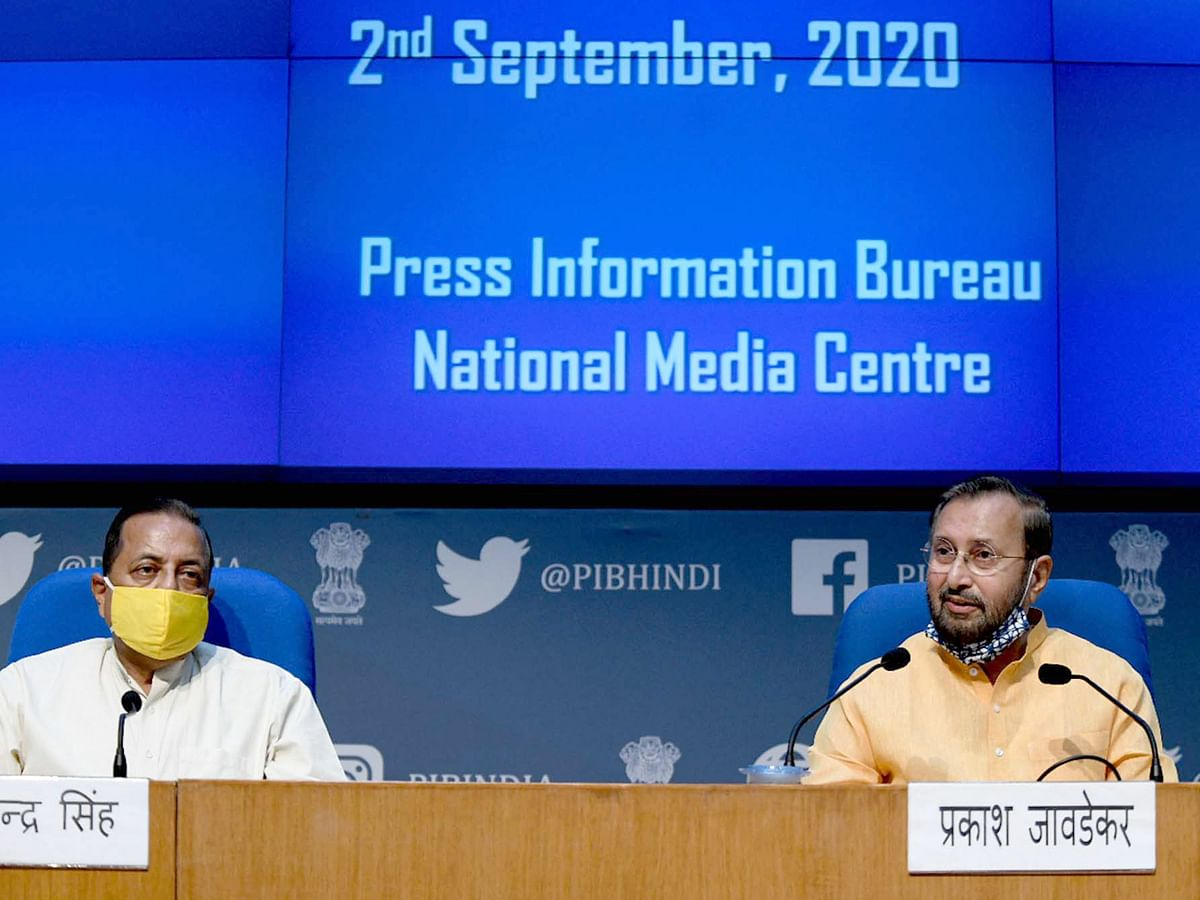 Information and Broadcasting Minister Prakash Javadekar (R) and Jitendra Singh (L) briefing the media about the decisions taken at a meeting of the Union Cabinet in New Delhi, on September 2, 2020