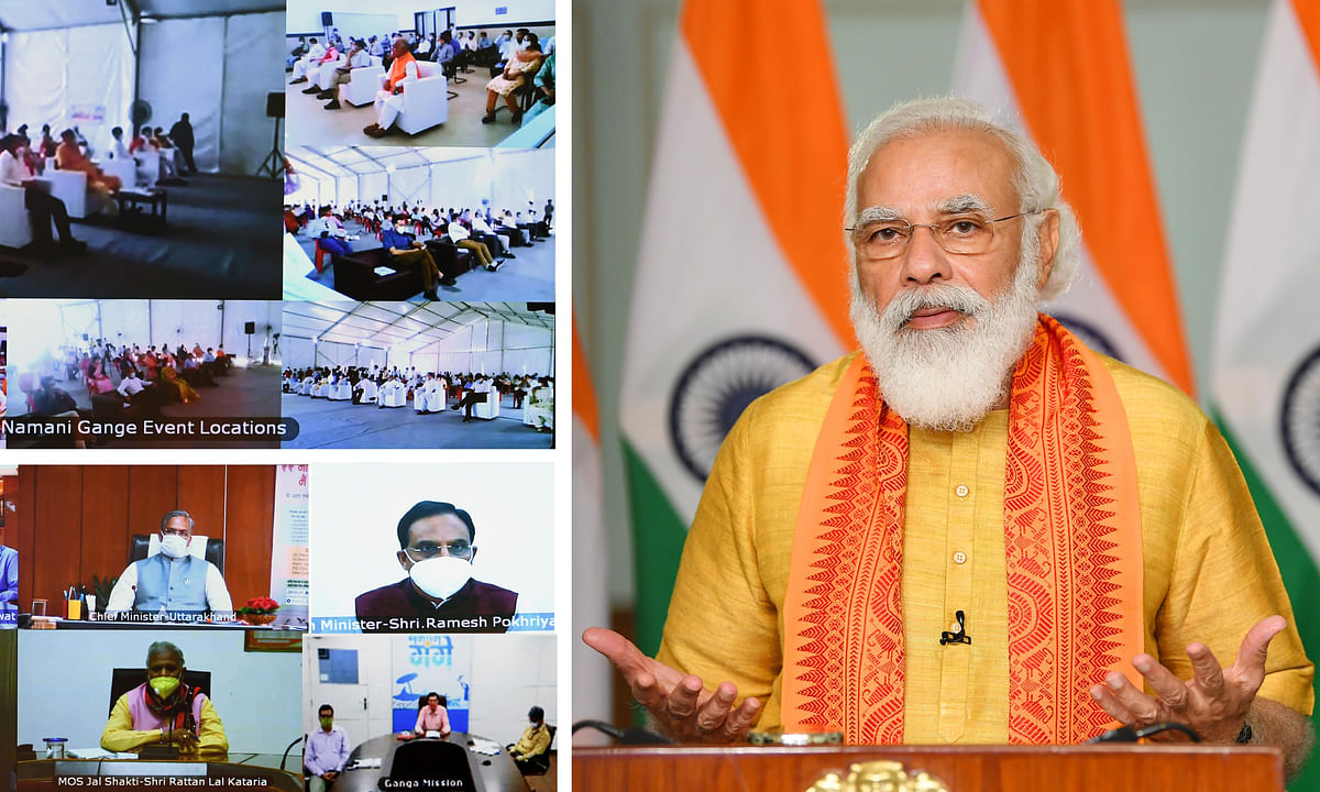 Prime Minister Narendra Modi speaking after inaugurating six development projects in Uttarakhand under the Namami Gange Mission through video conference, in New Delhi, on September 29, 2020.