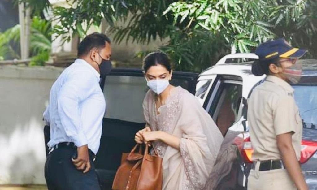 Actress Deepika Padukone arriving at the Narcotics Control Bureau  office for questioning in a drugs case, in Mumbai on September 26, 2020.