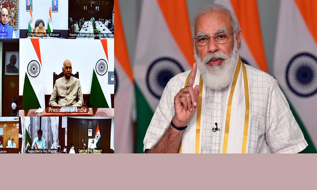 Prime Minister Narendra Modi addressing the Governors' Conference on the National Education Policy 2020, in New Delhi on September 7, 2020.