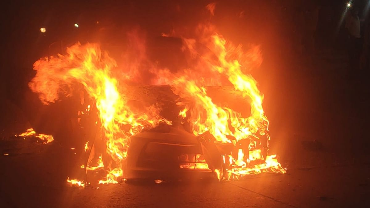 Delhi: Car turns into fireball on BRT track, driver hurt