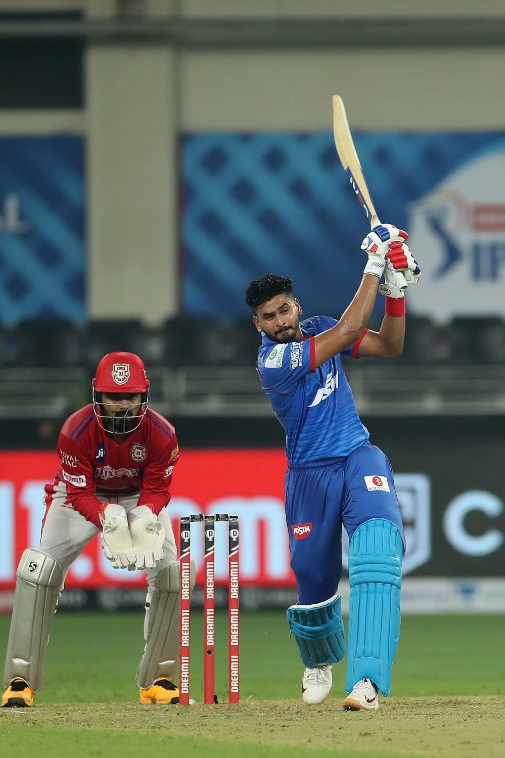 Delhi Capitals skipper Shreyas Iyer striking a six against Kings XI Punjab in the second match of the Indian Premier League in Dubai, on September 20, 2020.