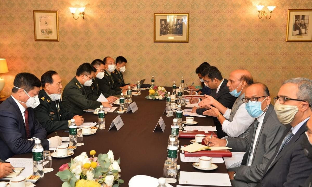 Indian Defence Minister Rajanth Singh and his Chinese counterpart Wei Fenghe meeting in Moscow on September 4, 2020 to discuss the border dispute between the two countries.