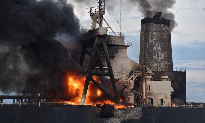 Oil tanker New Diamond, that caught fire on September 3, off the coast of Sri Lanka.