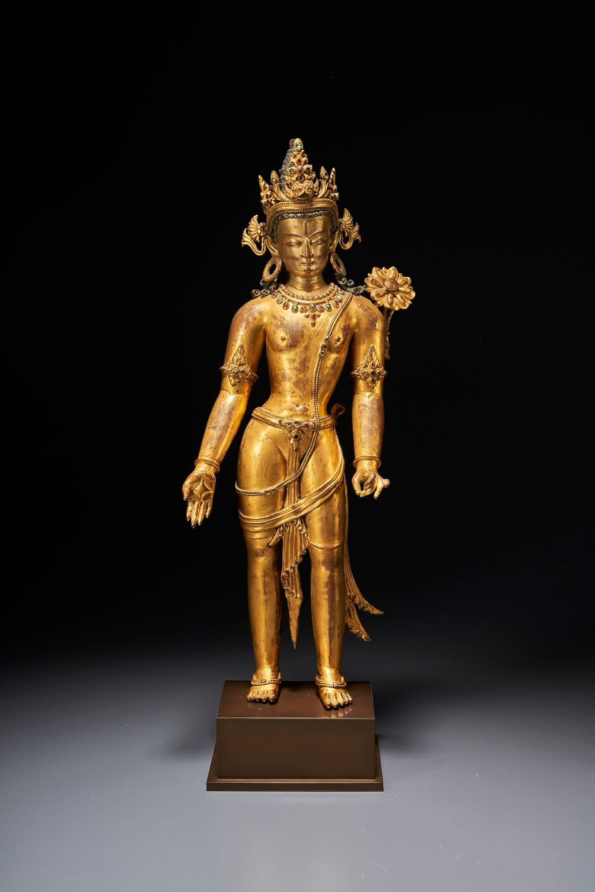 Property from a private American collection - An important gilt-copper figure of Padmapani Lokeshvara, Nepal, 13th Century