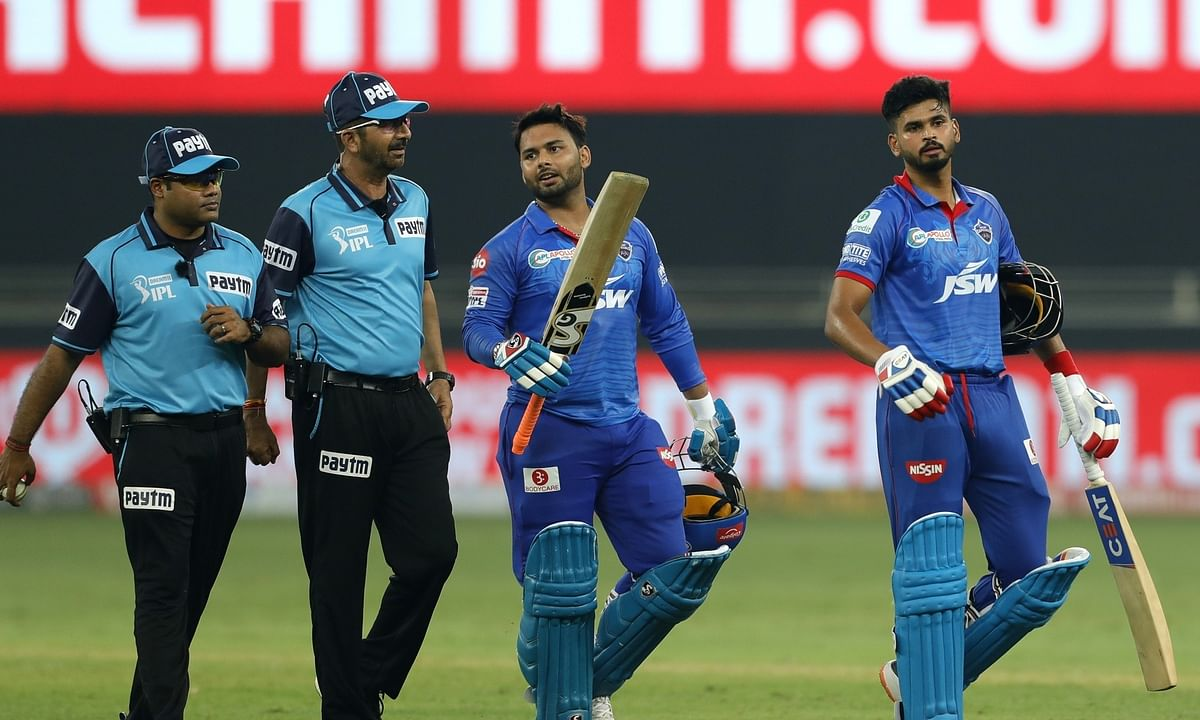 Delhi Capitals skipper Shreyas Iyer (right) with teammater Rishabh Pant after their victory over Kings XI Punjab in the second match of the Indian Premier League in Dubai on September 20, 2020.
